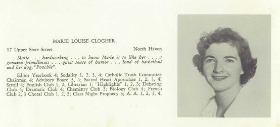 Black and white high school yearbook picture of Marie Louise Clogher.