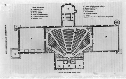 The layout of the Lecture Hall shows the seats arranged in a semi-circle around the stage and stairc