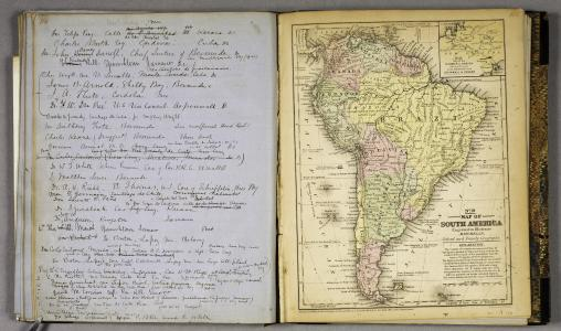 An open book. The left page is handwritten and the right page is a map of South America