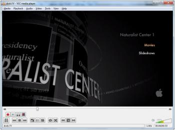 Menu screenshot of a Naturalist Center video from the mapped ISO mounted on a PC for playback. This