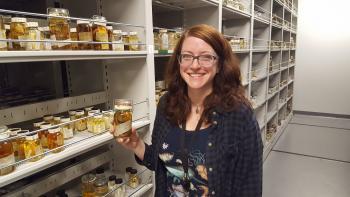 Katie Ahlfeld with Horton Hobbs Jr.'s specimens