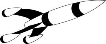 Black and white digital graphic of a rocket