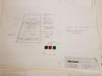 A sketch of a title panel with colored paint swatches and details about the exhibit and institution