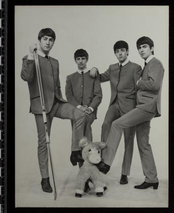 Promotional Black and white photography of the Beatles, C. 1964, as seen in even, non-raking visible
