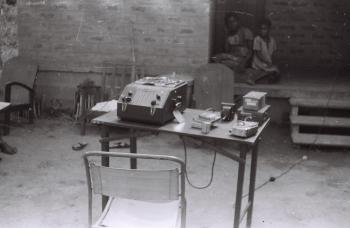 Field Work in the Western Region (Nigeria): Webster Wire Recorder Used by Lorenzo Dow Turner for Rec