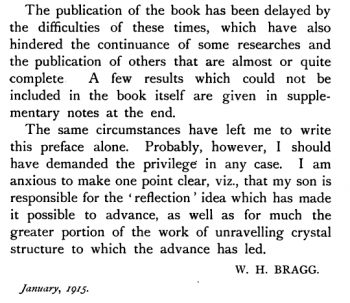 "An excerpt from the Braggs' ""X-Rays and Crystal Structure,"" 1915."