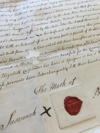 Close-up of the indenture following treatment. The portion featuring the seals has been reattached,