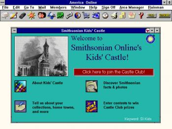Screenshot of the Kids' Castle, which launched August 2, 1996, through Smithsonian Online (SOL).