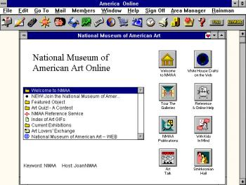 Screenshot of the Smithsonian's first virtual museum available through Smithsonian Online (SOL).