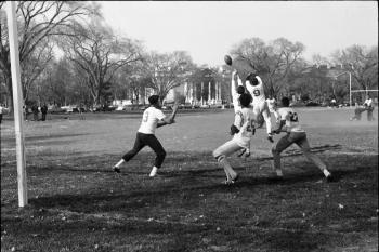 Smithsonian safety Teddy Mavritt breaks up a pass on the final play of a Federal Recreation League g