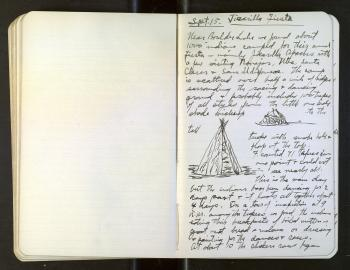An open notebook with notes written on the right page, while the left page is blank. Drawings are in