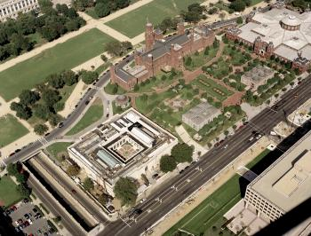 An aerial view from the southwest of the Smithsonian Institution Building, 1993.
