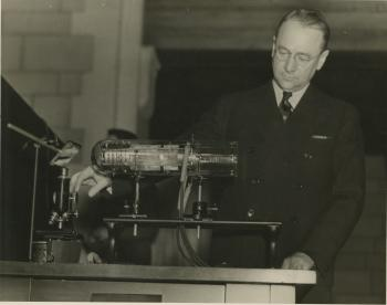 Vladimir Kosmich Zworykin demonstrating his iconoscope during the Research Parade, 1936.