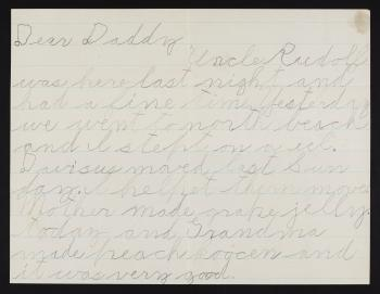 A letter from Waldo Schmitt Jr. to his father, 1925. Smithsonian Institution Archives, Image Number