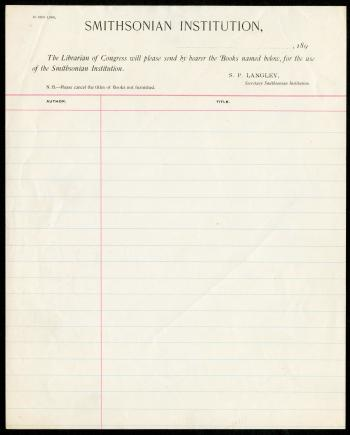 Blank lined paper with Smithsonian Insitution letter head.