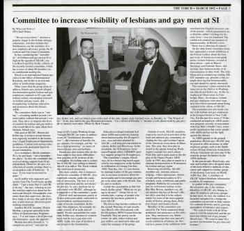 Smithsonian Torch article about the formation of the SI Lesbian and Gay Issues Committee, March 1992