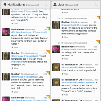 Twitter conversation at the Smithsonian Transcription Center to clarify some questions about transcr
