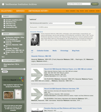 Example of the new Archives Site Search, showing results for