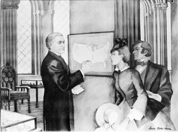 """Secretary Henry Posts Daily Weather Map in Smithsonian Building, 1858,"" by Louise Rochon Hoover, Co"