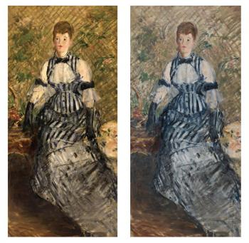 Edouard Manet, Woman in Striped Dress, before and after treatment, (1877-80), Solomon R. Guggenheim