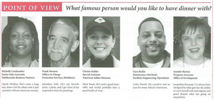 Five Smithsonian employees provide answers to the question: What famous person would you like to hav