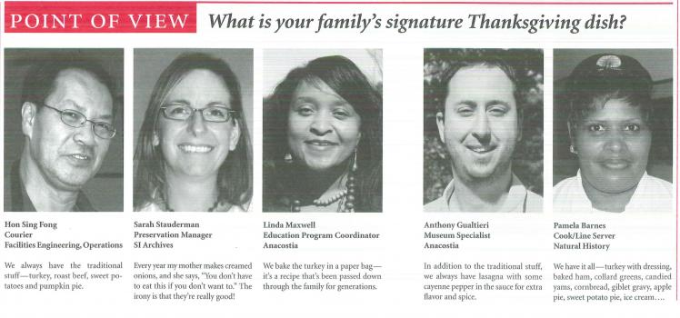 Five Smithsonian employees provide answers to the question: What is your family's signature Thanksgi