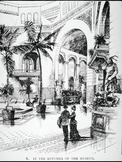 A drawing of two people standing in a grand museum rotunda with palm trees inside