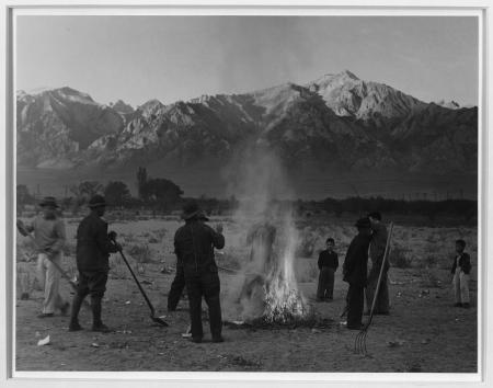 Burning leaves, autumn dawn, Manzanar Relocation Center, California, photograph by Ansel Adams, 1943
