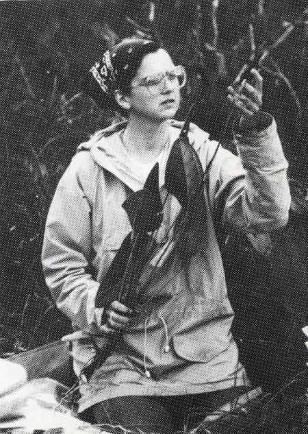"Smithsonian botanist, Dr. Vicki Funk, collects an Aroid plant on Cerro de la Neblina's plateau, ""Sci"