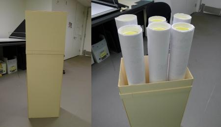 The completed box: lid in place on the left, and lid removed on the right to show all six rolls of g