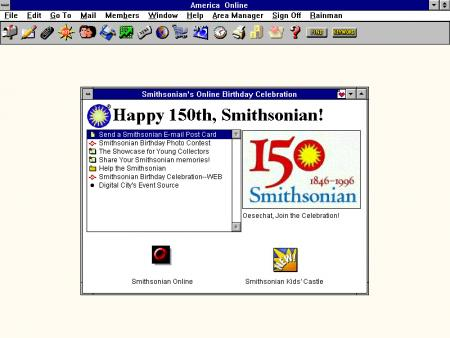 Screenshot of the 150th anniversary celebration of the Smithsonian available through Smithsonian Onl