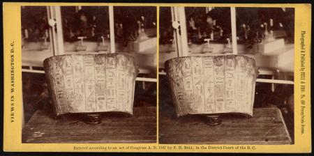 Stereoview showing a piece of mummy cartonnage (wrappings) painted with hieroglyphics, from Saqqara,