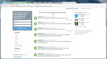 Using Twitter's advanced search, tweets from September 2009-January 2010 of the Smithsonian Institut