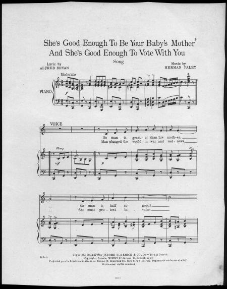 """Sheet music for a song titled """"She's Good Enough To Be You Baby's Mother And She's Good Enough To Vo"""