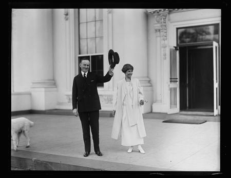 Calvin Coolidge and Grace Coolidge outside White House, Washington, D.C.; by Harris & Ewing; 1924, g