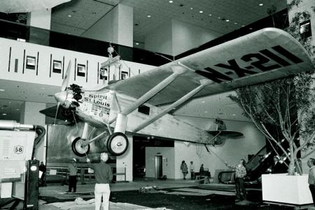 "Installation of ""Spirit of St. Louis"" at National Air and Space Museum."