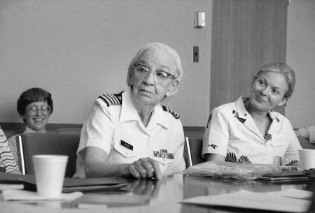 "Grace Murray Hopper and Jeanne LaDuke attend ""Women Pioneers in Mathematics"" meeting at National Mus"