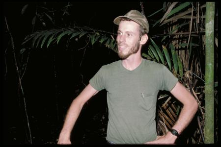 Dr. Brian C. Bock along pipeline road at the Smithsonian Tropical Research Institute, circa 1986, Ac