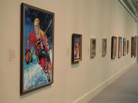 """Painting of Bobby Hull at the """"Champions"""" exhibit at the National Portrait Gallery, by Andrew Whites"""