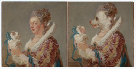 A face swap of Jean Honore Fragonard's 1769 painting.
