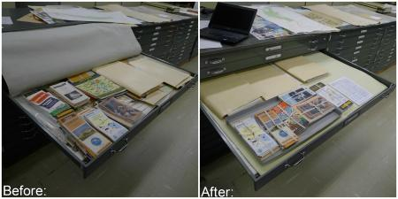 Map Case Drawer, Before and After. Photo by Caitria Sunderland.