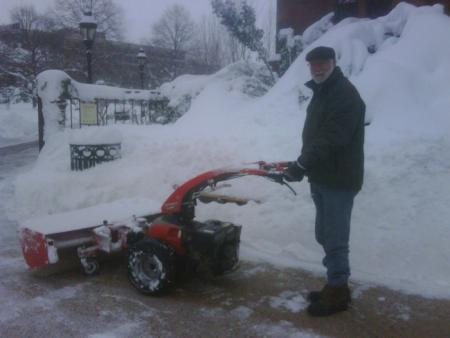 Secretary G. Wayne Clough Operating Snow Blower during 2010 Snowmaggedon.