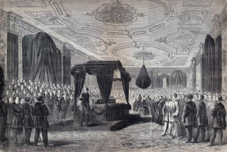 Funeral Service Over the Remains of President Lincoln, as They Lay in State in the East Room of the