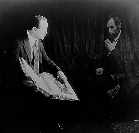 Spirit Photograph, Harry Houdini with Ghost of Abraham Lincoln, by Harry Houdini, via Wikimedia Comm