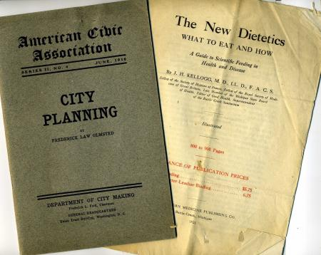 A group of pamphlets and brochures attest to Henderson's interests; the City Beautiful movement and