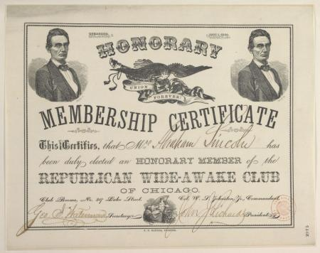 Chicago Wide-Awake Republican Club to Abraham Lincoln, Friday, June 01, 1860 (Certificate of members