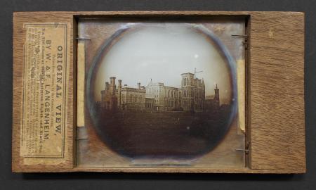 Lantern slide photograph of Smithsonian Castle