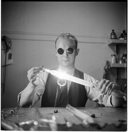 Columbia University [Professor working with bright light.], 1948, by Stanley Kubrick for Look magazi