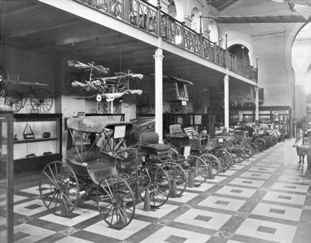 Transportation exhibit featuring automobiles in the United States National Museum, now known as the