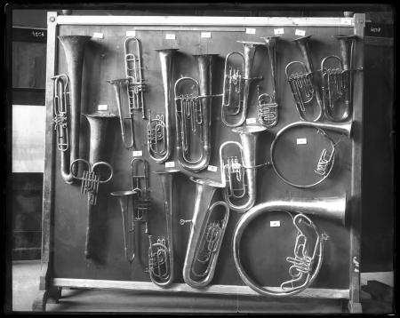 Selection of horns mounted for musical instruments exhibit in the United States National Museum.
